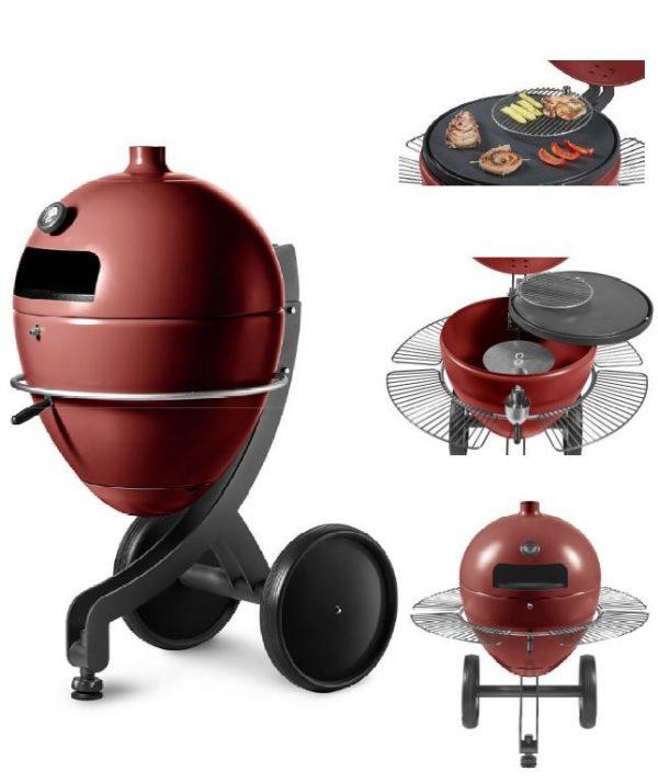 Barbecue à granulés POB PBQ couleur rouge differentes vues avec grilles plancha
