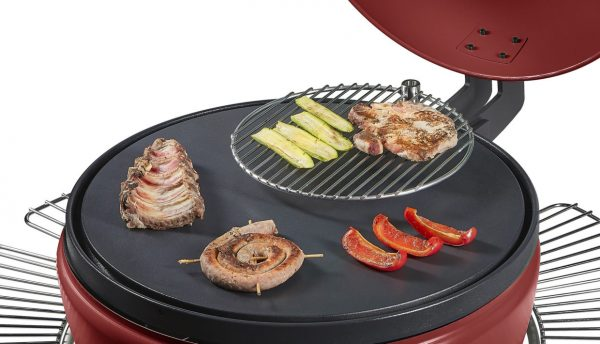 Barbecue à granulés POB PBQ couleur rouge grilles plancha legumes viandes