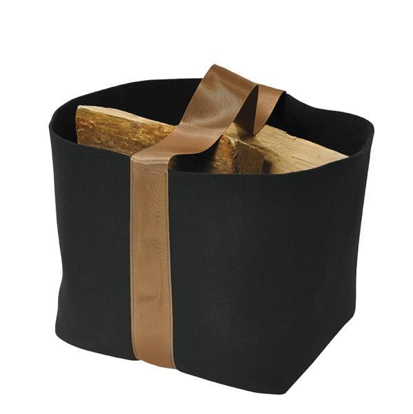Sac à bûches Trendy Noir/Anse cuivre