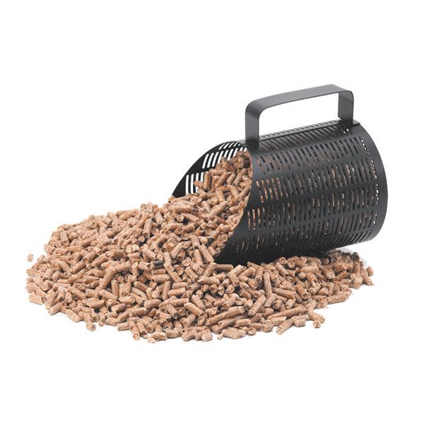 Pelle à granulés pelle pellet DIXNEUF noire avec poignet 1 kg fond blanc rempli de pellets