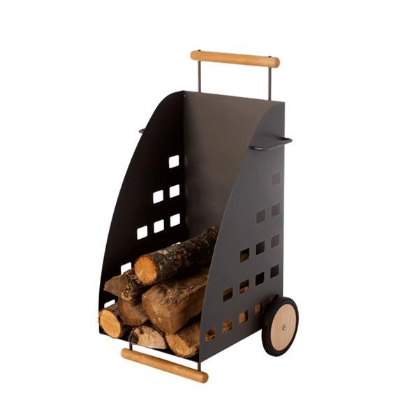 Chariot à bûches KADDY Acier - Gris sablé