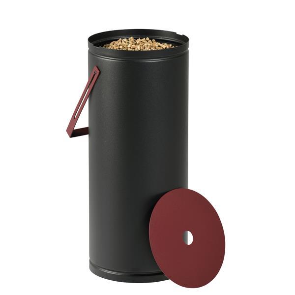 Stockeur à granulés STUDIO Noir givré et rouge bordeaux