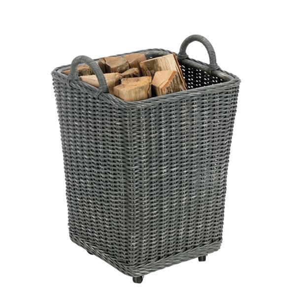 Corbeille à bûches GIPSY Rotin - Gris Référence : 005.R2014