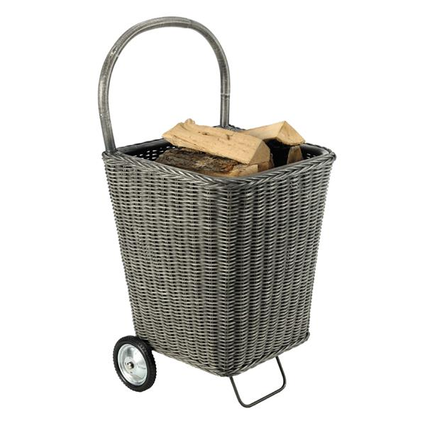 Chariot à bûches NOMAD Rotin - gris
