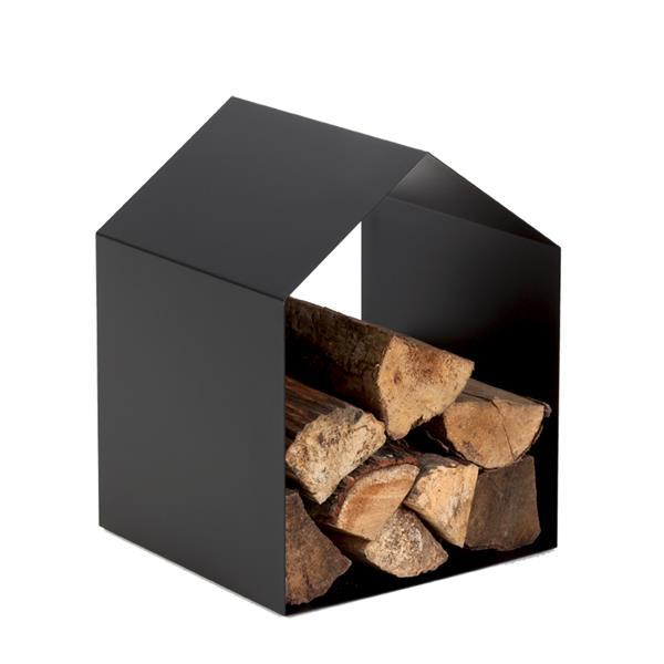Range-bûches HOME Acier - Noir givré