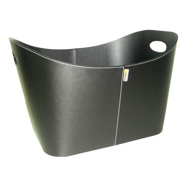 Aduro Baseline panier à bûches 55x45x30 imitation cuir Noir